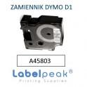 Taśma zamiennik DYMO 45013 12mmx7m czarny nadruk - białe tło